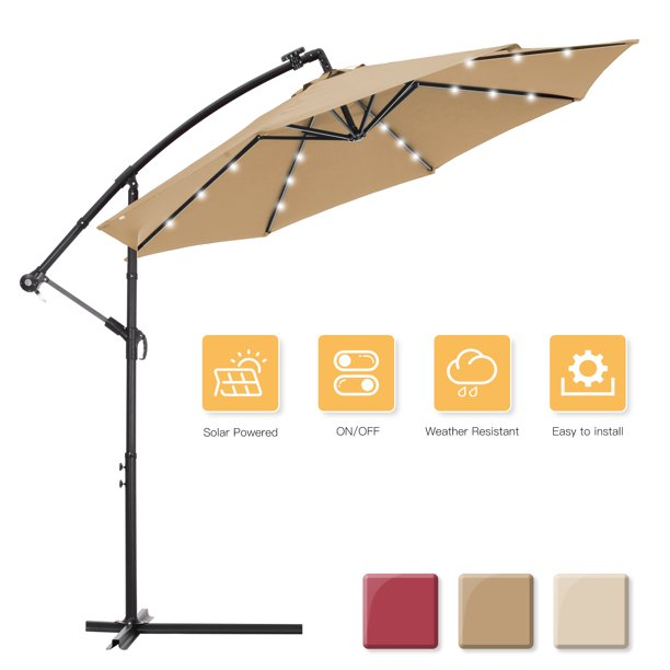 10 Ft Outdoor Umbrella With Stand, Large Patio Umbrellas With Lights
