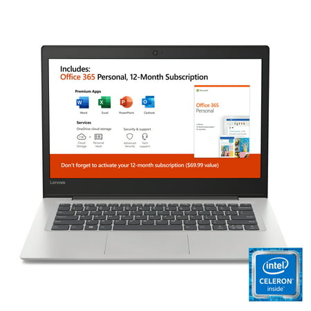 "Lenovo Ideapad 130s 14.0"" Laptop, Intel Celeron N4000 Dual-Core Processor, 4GB Memory, 64GB Storage, Office 365 1 Year Subscription, Windows 10, Mineral Grey"