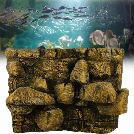 Moaere Hot Sale 3D PU Rock Reptile Stone Aquarium Background Backdrop Fish Tank Board Decor (36x24 Aquarium Background)