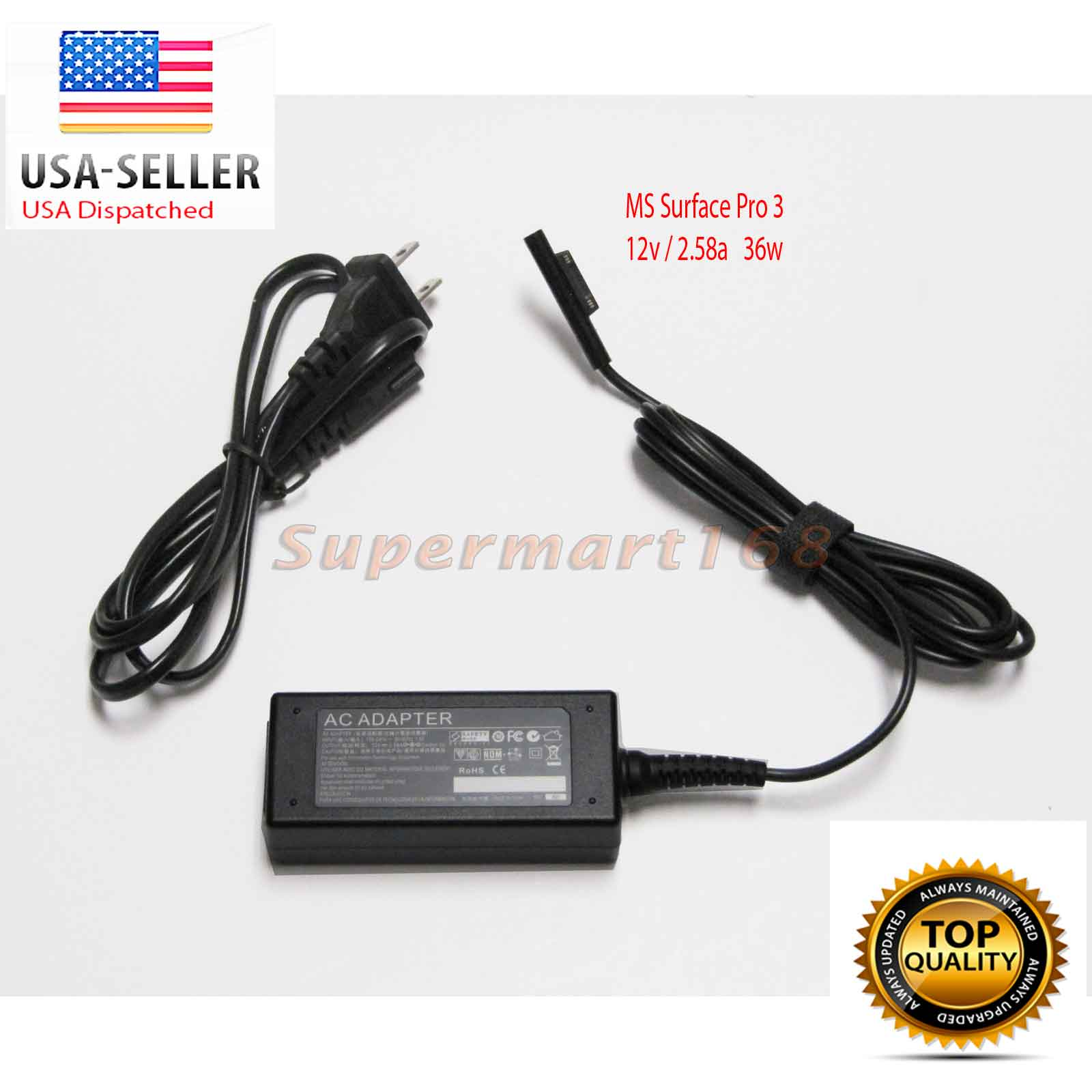12V 2.58A 36W Charger Power Supply Adapter for Microsoft Surface Pro 3 Tablet Laptop Power Supply Charger Cord Plug (ZA-MS-36W)