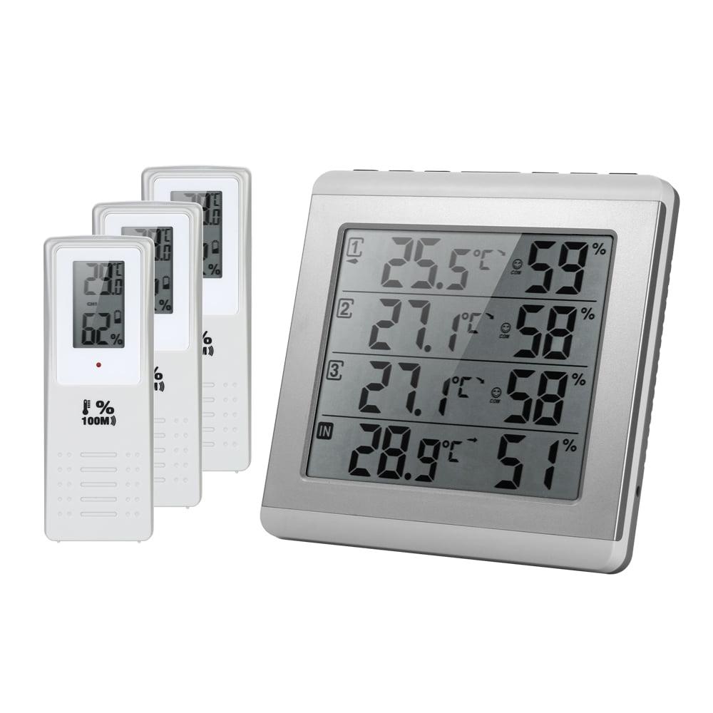 Digital LCD Indoor Outdoor Wireless Temperature Hygrometer Meter Hanging Hole