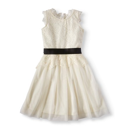 Btween Lace And Mesh Holiday Dress With Ribbon Waist (Big Girls)