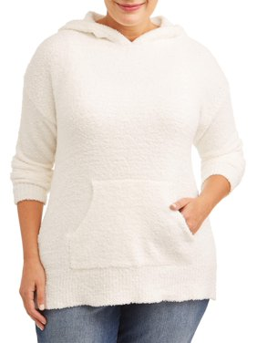 No Comment Juniors' Plus Size Super Soft Teddy Hooded Sweater