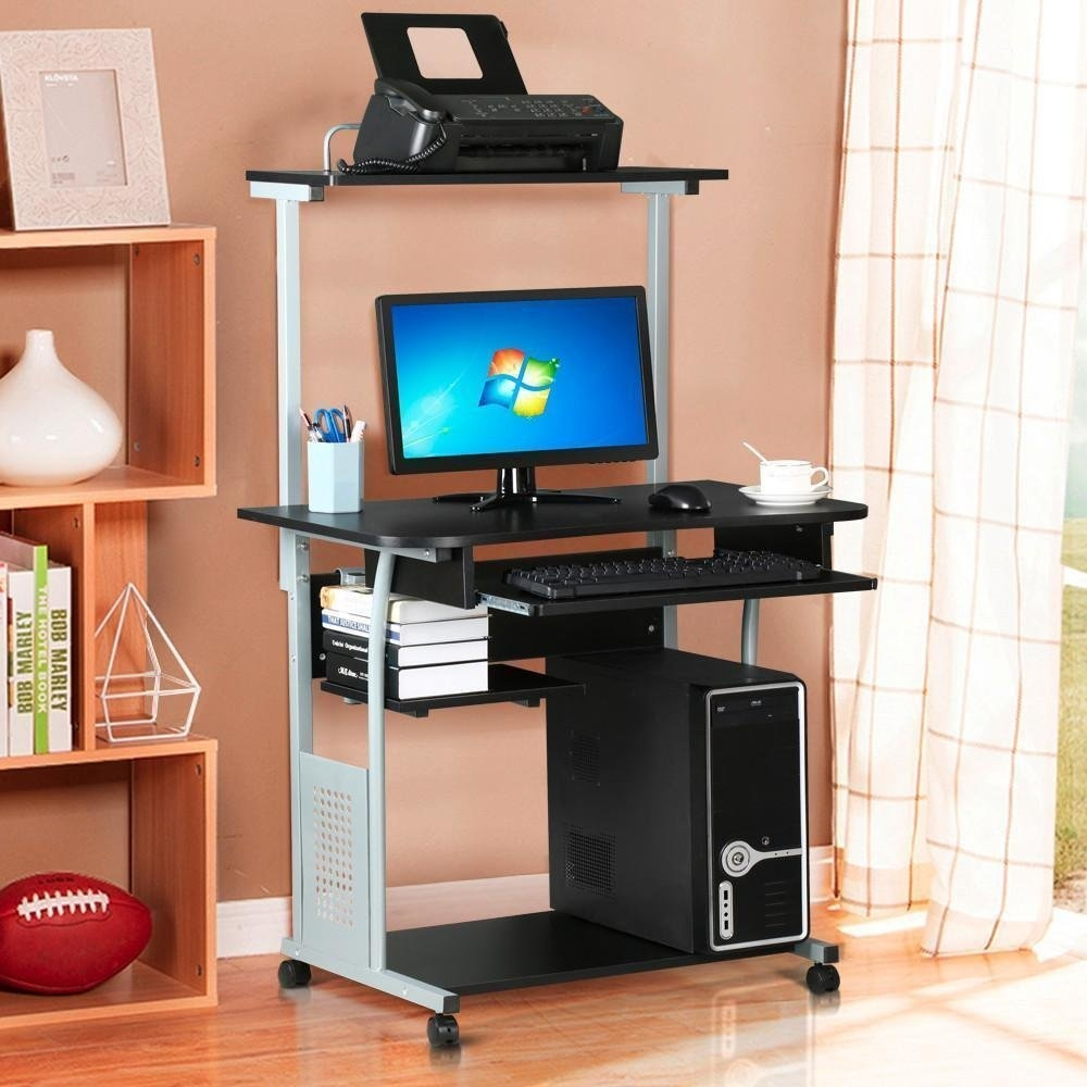 New MTN G 2 Tier Home Office Computer Desk W/ Printer Shelf Stand Study