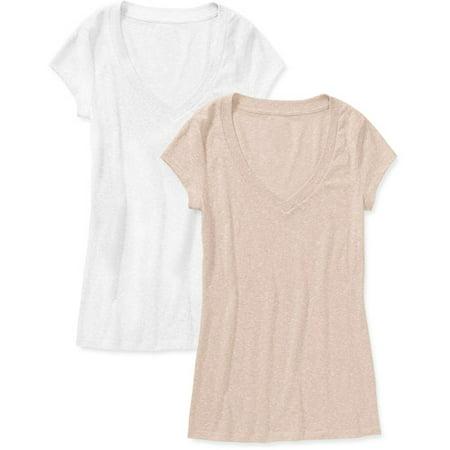 234cd9307068 No Boundaries - No Boundaries Juniors Short Sleeve V Neck T Shirt 2 Pack -  Walmart.com