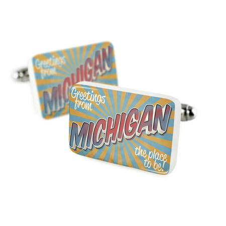 - Cufflinks Greetings from Michigan, Vintage PostcardPorcelain Ceramic NEONBLOND