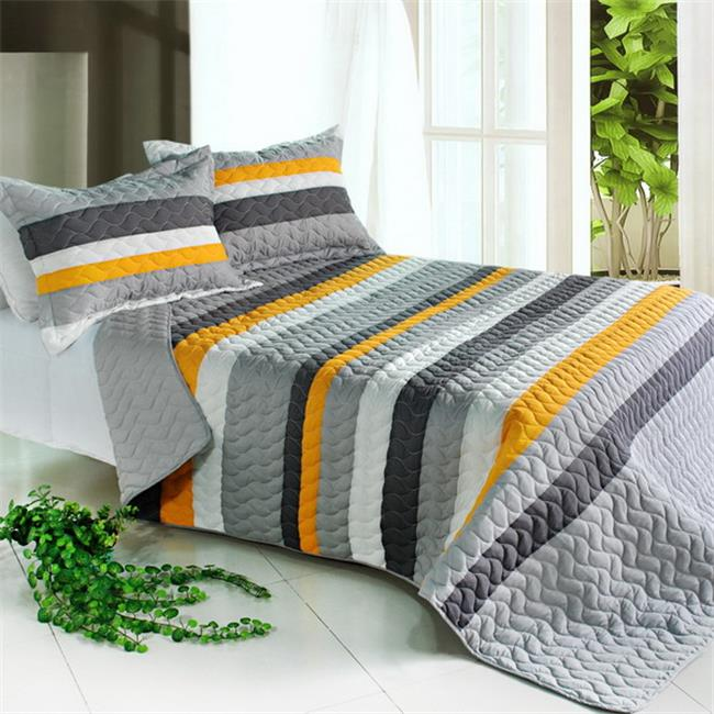 Blancho Bedding QTS01021-23 Modern Life 3 Piece Full/Queen Vermicelli Striped Quilt Set