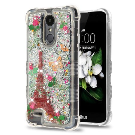 Rebel Floating - TUFF Liquid Floating Glitter Quicksand Waterfall Hybrid Silicone Gel Phone Protector Case - (Paris Butterfly) and Atom Cloth for LG Rebel 3 4G LTE L157BL, L158VL