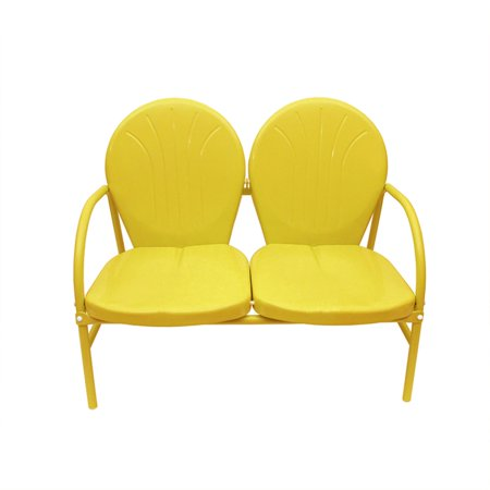 Sunshine Yellow Retro Metal Tulip 2-Seat Double Chair