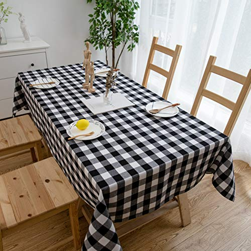 Tablecloth Cotton Linen Blend Farmhouse Checker Plaid Gingham Table Cover