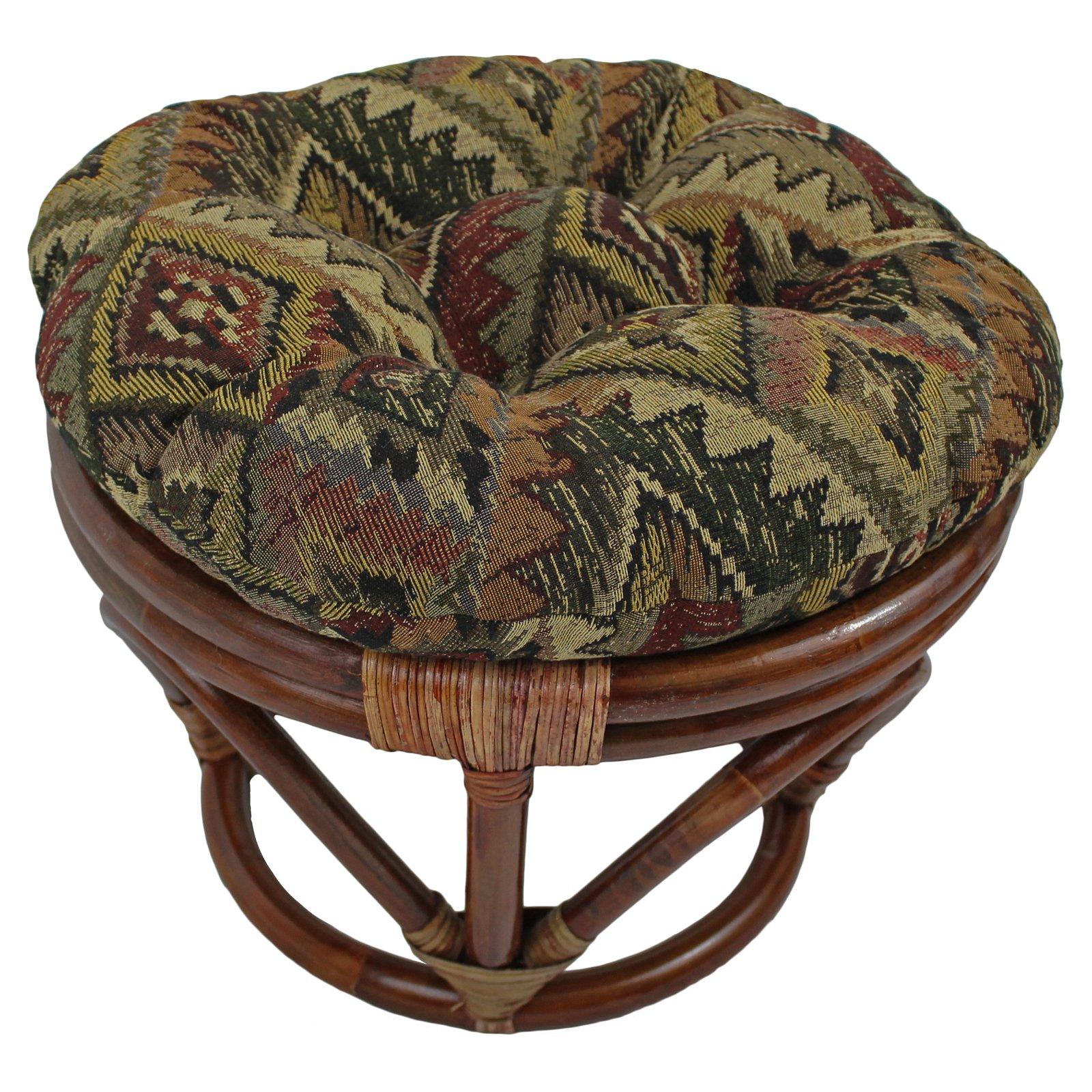 International Caravan Papasan Stool with Tapestry Cushion