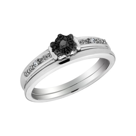 Black Diamond Promise Ring and Matching Band Set in Sterling Silver - image 2 de 2
