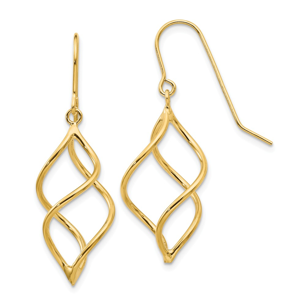 14k Yellow Gold Polished Short Twisted Dangle Wire Earrings (1.1IN x 0.4IN )