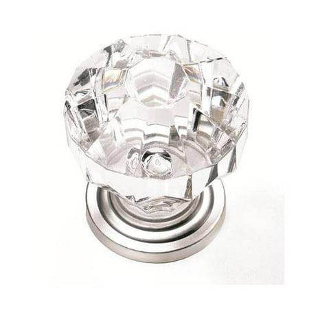 """1-1/4"""" Dia. Kristal Knob - Acrylic Satin Pewter Base"""