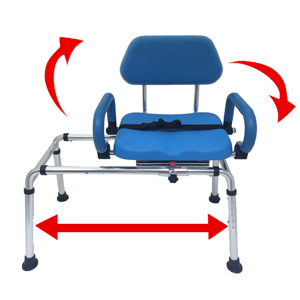 Platinum Health CAROUSEL Sliding Transfer Bench with Swivel Seat PREMIUM Padded Bath Shower Chair with Pivoting Arms