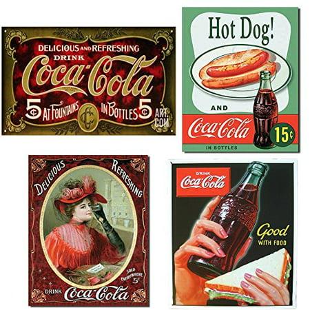 Vintage Retro Coca Cola Collector Metal Signs Set Of 4 Gift Bundle