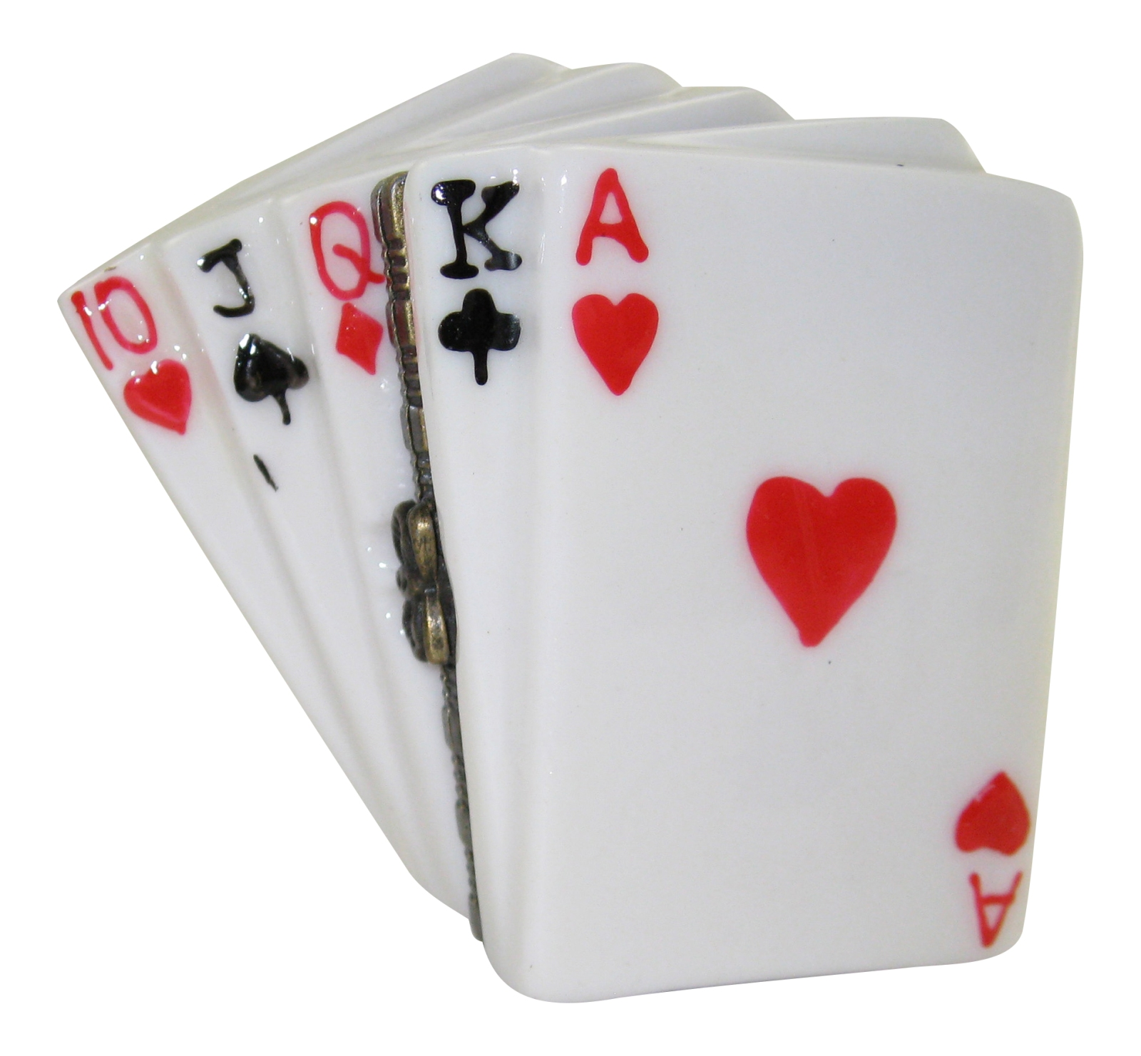 Poker Hand Straight Winner Playing Cards Porcelain Hinged Trinket Box