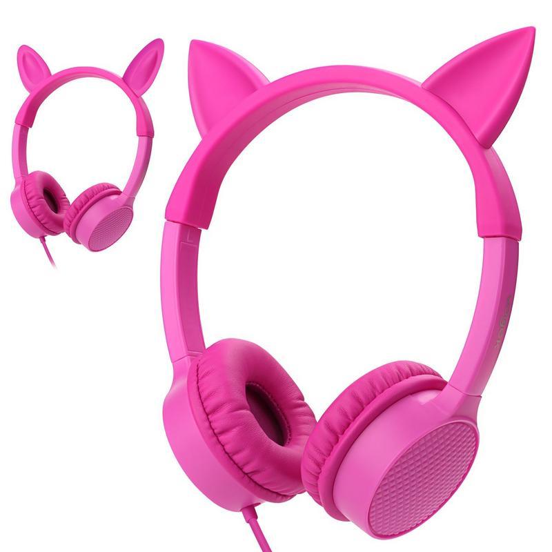 Cat Ear headphones Kids Headphones, Vogek 2 in 1 Cat / Rabbit Wired On-Ear Headphones Headsets with 85dB Volume Limited, Children Headphones for Kids-Pink