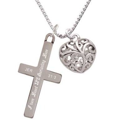 Medium Open Filigree Heart - Everlasting Love - Cross Necklace