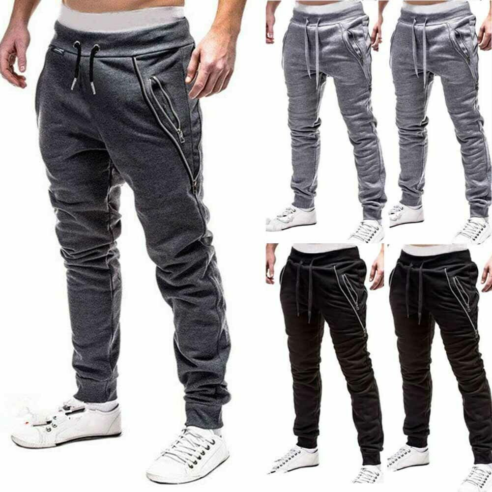 Mens Slim Fit Sweat Trousers Gym Skinny Joggers Tracksuit Bottoms Track Pants