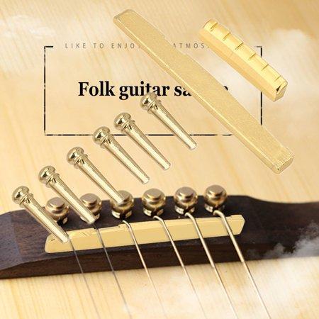 Acoustic Guitar Bridge Pins Saddle Nut Brass Guitar Upper Nut Bottom Saddle Repair Replacement Accessory For Folk Guitars Acoustic Guitar Bridge Saddle