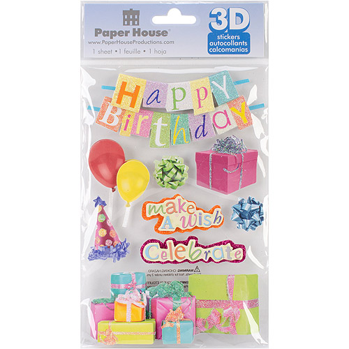 Paper House 3D Stickers, Happy Birthday