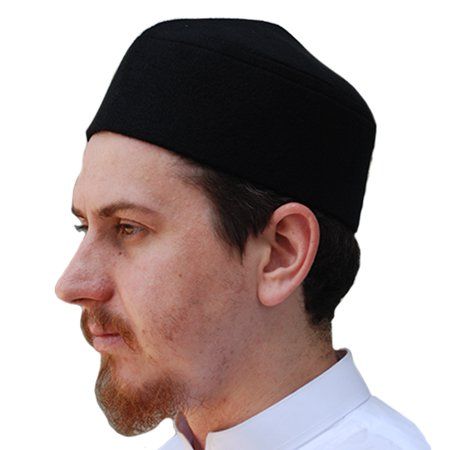 TheKufi® Black Moroccan Fez-style Muslim Kufi Hat Cap with Pointed Top (L) (Kufi Hats Indonesia Style)