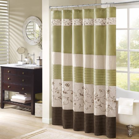 Monroe Embroidered Floral Shower Curtain Green