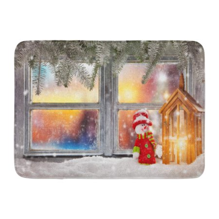 GODPOK Angels White Advent Vintage Wooden Window Overlook Winter Landscape Christmas on Foreground Alp Rug Doormat Bath Mat 23.6x15.7 (Ascent Trainer Mat)