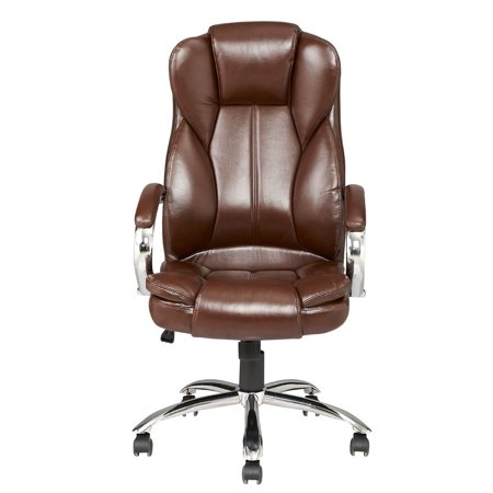 Brown Modern High Back Leather Executive Office Desk Task Computer Chair W Metal Base