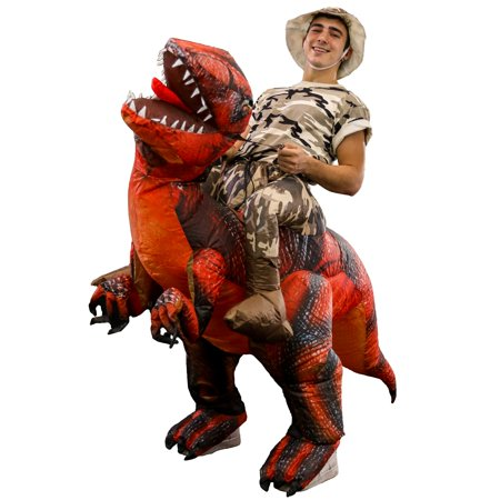 Inflatable Halloween Suit (Halloween Haunters Inflatable Red Dinosaur Rider Costume Suit Adult and Teen Size - Reptile Blow Up with Inflation)