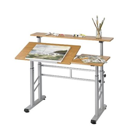 Safco Products 3965MO Split Level Drafting Table, Height-Adjustable, Medium Oak
