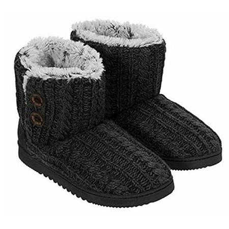 e7bc460d97e Dearfoams Women's Marled Cable-Knit Memory Foam Bootie Slippers