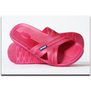 Bokos BKSWN Womens One-Piece Rubber Athletic Slide Sandals, Dark Pink - Size 8