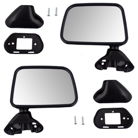- Pair Set Manual Side View Door Skin Mounted Textured Mirrors Replacement for Toyota Pickup Truck w/ vent window 8794089141 8791089143