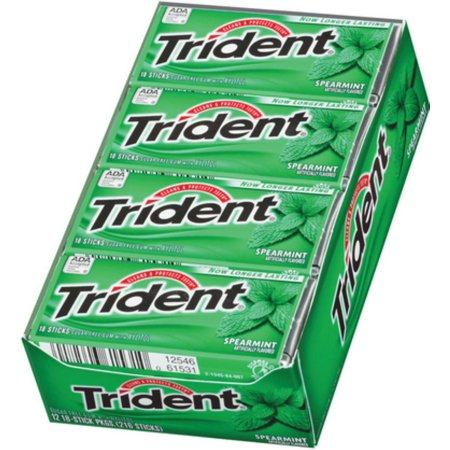 Trident Spearmint Sugar Free Gum with Xylitol, 18 pc, (Pack of 12)