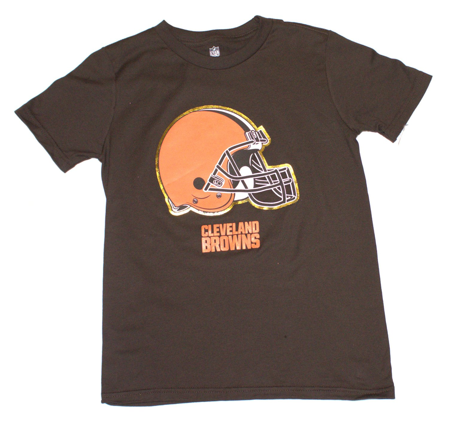 NFL Officially Licensed Cleveland Browns Reflective Gold Outline Logo Youth T-Shirt (large 14-16)
