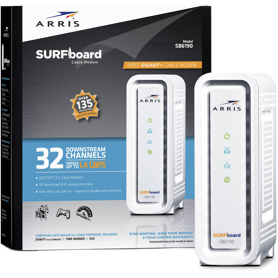 ARRIS SURFboard SB6190 DOCSIS 3.0 Cable Modem, 1.4 Gbps Download Speeds