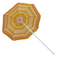 Astella 6' Orange Mango Stripe Beach Umbrella With Nylon Printed Stripes and UV Coating