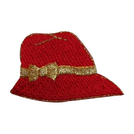 ID 7699 Woman Classic Red Hat Patch Fashion Bow Cap Embroidered Iron On
