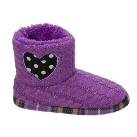 Dearfoams Girl's Sweater Knit Bootie w/Heart Slippers (Glass Slippers For Girls)