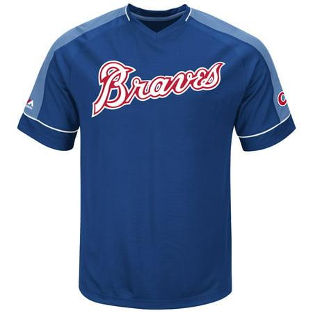 "Atlanta Braves Majestic MLB ""Tandem"" Cooperstown V-Neck Mens Fashion Jersey by"