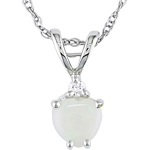 """1/4 Carat T.G.W. Opal Heart and Diamond Accent 10kt White Gold Pendant, 17"""""""