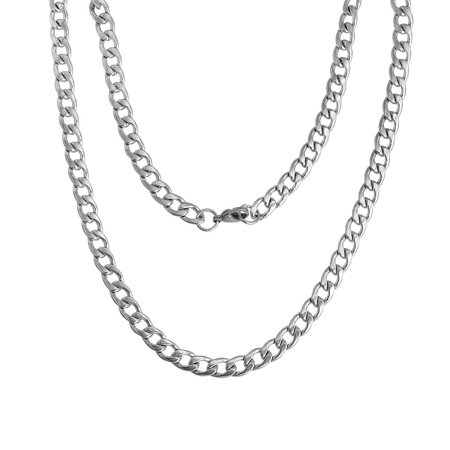 Sexy Sparkles Stainless Steel Link Curb Chain Necklace for Men Women 21 5/8