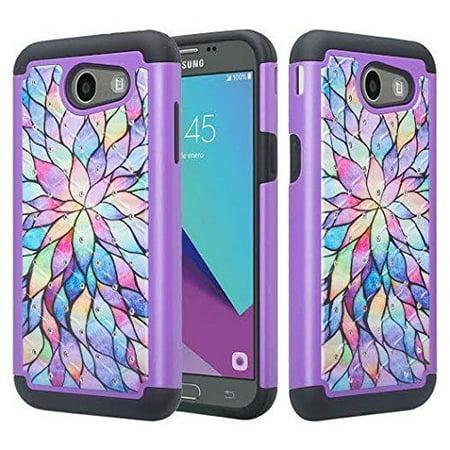 (Samsung Galaxy J3 Prime, Emerge, Luna Pro, Express Prime 2, Amp Prime 2, Sol 2 Case - Wydan Studded Diamond Rhinestone Bling Shockproof Heavy Duty Rugged Phone Cover - Rainbow Flower)