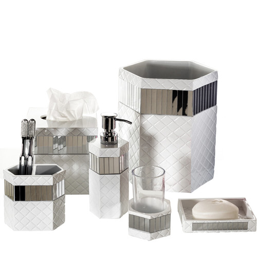 Creative Scents Quilted Mirror 6-Piece Bathroom Accessory Set by Overstock