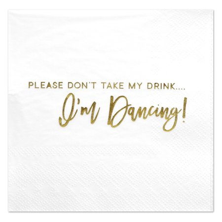 Koyal Wholesale Dont Take My Drink, Funny Quotes Cocktail Napkins, Gold Foil, Bulk 50 Pack Count 3 Ply Napkins Wholesale Cocktail Napkins