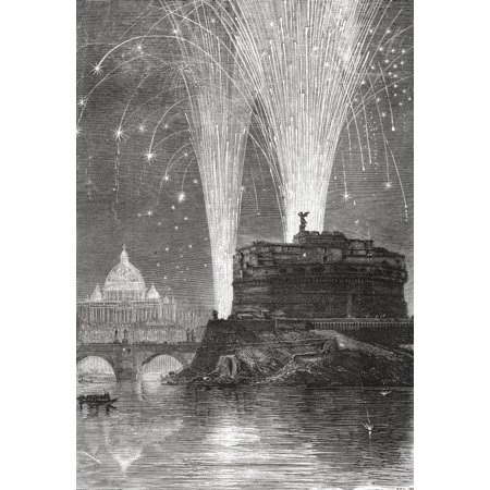 19th Century Patterns - Illumination of St Peters and firework display on the Castel SantAngelo Rome Italy in the late 19th century  From Italian Pictures by Rev Samuel Manning published c1890 Poster Print by Hilary Jane Mor