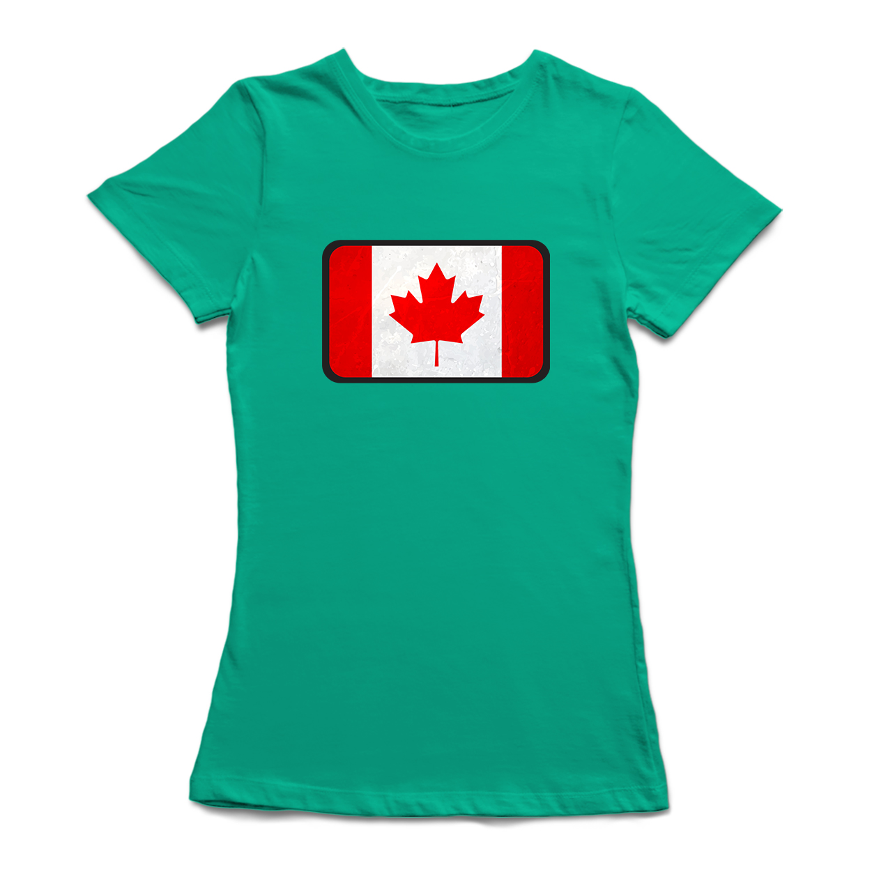 Canada Flag Box Stamp Womens T Shirt