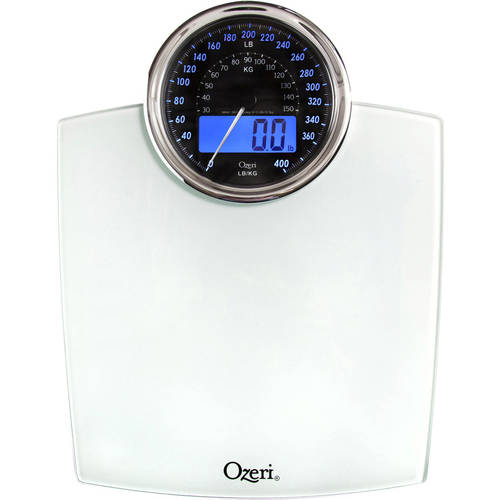 ozeri rev digital bathroom scale with electro-mechanical weight